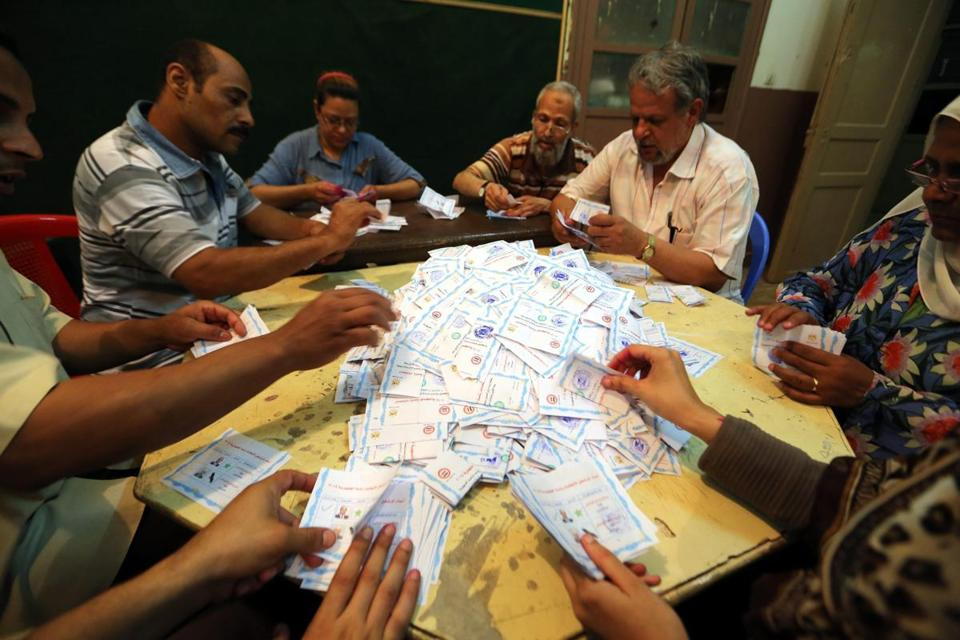 Egyptian election workers counted ballots at a polling station in Cairo on Wednesday.