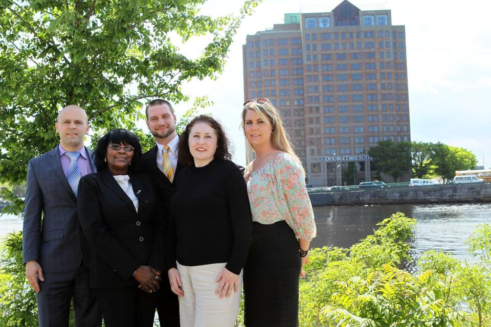 DoubleTree workers Afrim Hoxha (left), Cheryl Drayton, Evan Martin, Olivia Kennedy-Long, and Jessica Fanjoy oppose efforts by Unite Here Local 26 to organize.