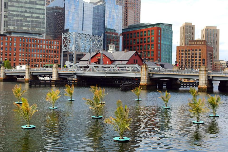 Palms floating in Fort Point Channel are among the exhibits being added to spark interest in the area.