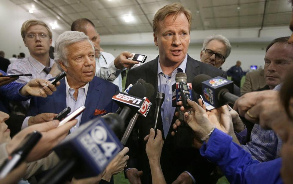 NFL Commissioner Roger Goodell (right) and Patriots owner Robert Kraft (left) addressed members of the media during a football safety clinic for mothers.