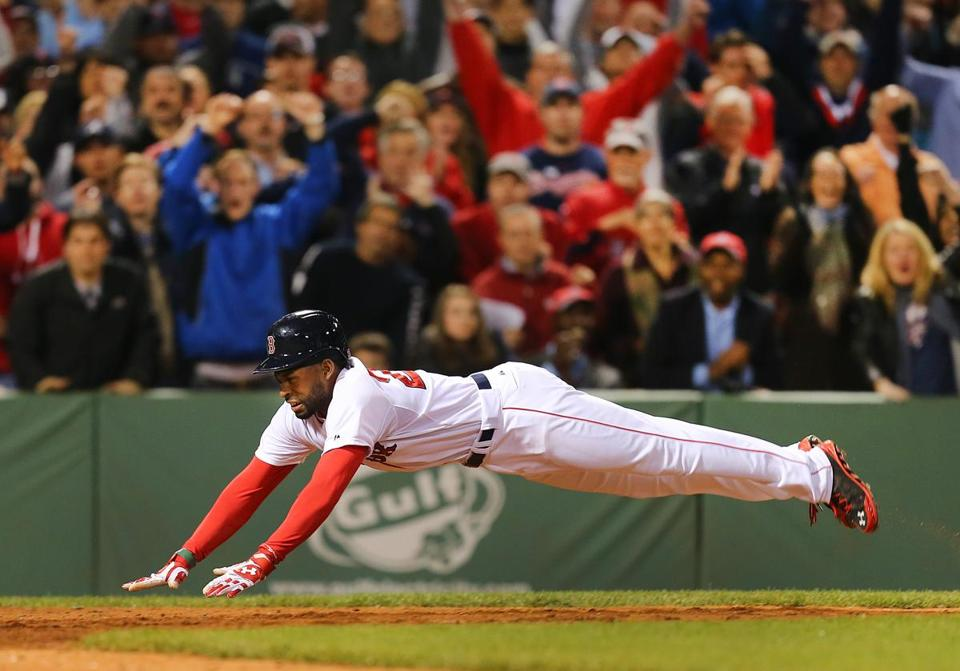 Jackie Bradley Jr. scored the winning run on a head-first dive after the Braves' Chris Johnson threw the ball wildly to second base.