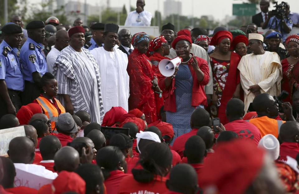 "Former World Bank vice president Oby Ezekwesili addressed a ""Bring Back Our Girls"" rally in Abuja."