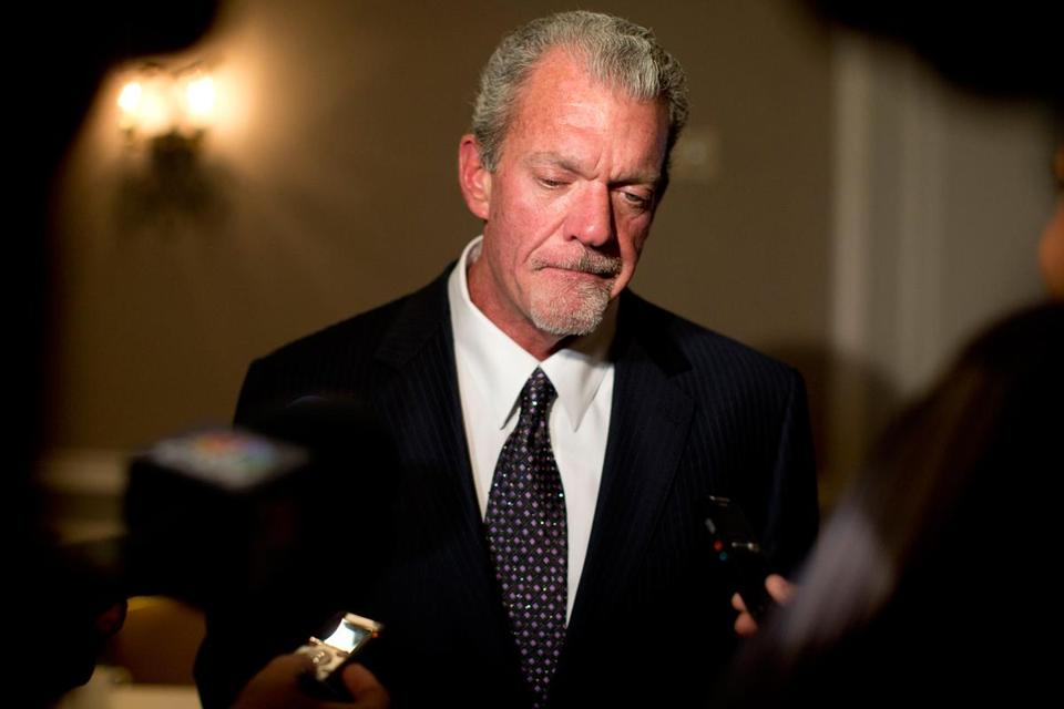 Colts owner Jim Irsay was arrested in March for driving while impaired in an Indianapolis suburb.