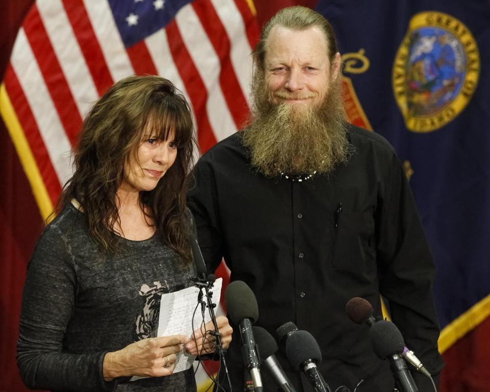 ''You were not left behind,'' said Bob Bergdahl of his son, Bowe. Bergdahl addressed the media in Boise with his wife, Jani.