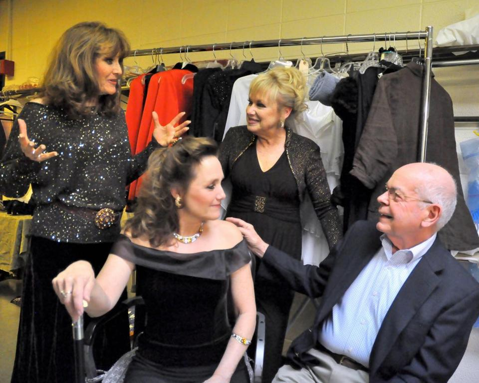 The Lennon Sisters backstage with Reagle Music Theatre founder and executive producer Robert J. Eagle before a Mother's Day concert last month.