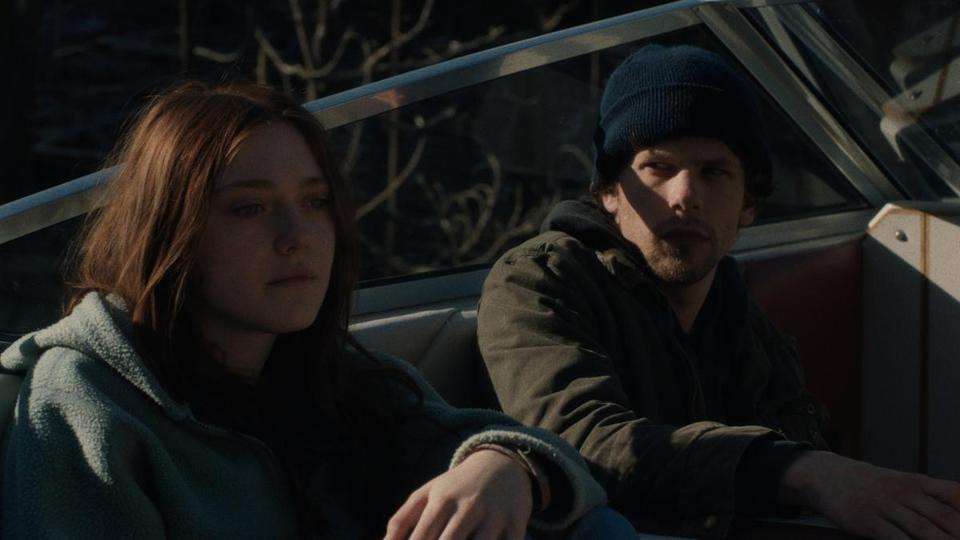 "Dakota Fanning and Jesse Eisenberg (pictured) and Peter Sarsgaard in the suspense thriller ""Night Moves."""