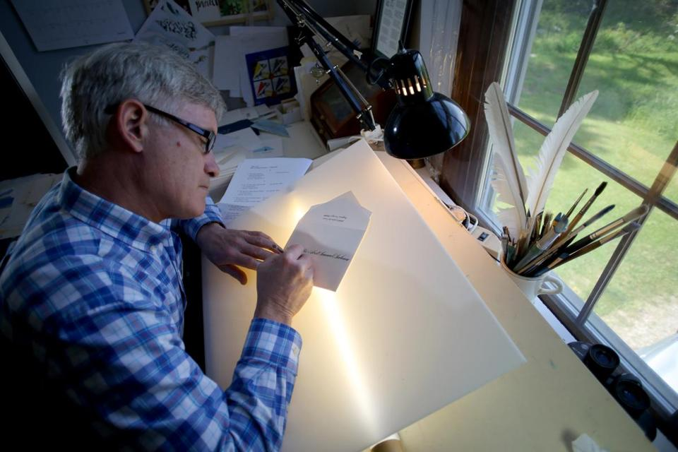 "Rick Paulus, chief calligrapher for eight years under Presidents Bill Clinton and George W. Bush, now works at his home in Orleans. ""This is timeless,"" he says of his craft."