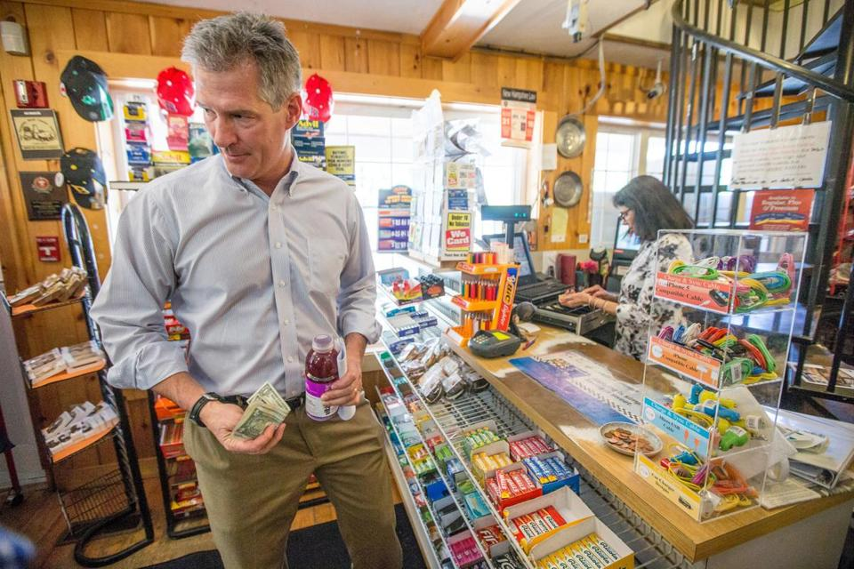 Scott Brown  paid cashier Gita Patel for a drink while campaigning at the Waterhouse Country Store in Windham, N.H.