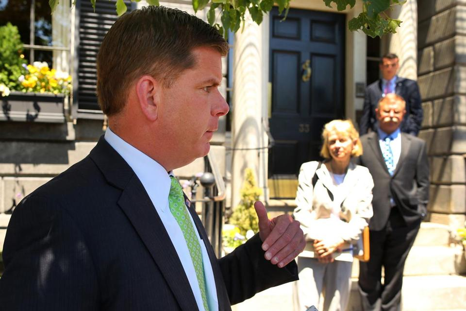 Mayor Walsh met with the representatives of BU, BC, Northeastern, Suffolk and several other city colleges at the Parkman House, the city-owned mansion on Beacon Hill.