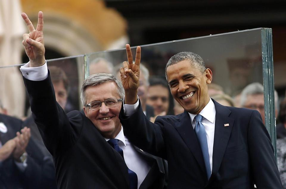 Polish President Bronislaw Komorowski and President Obama met in Warsaw on Wednesday.
