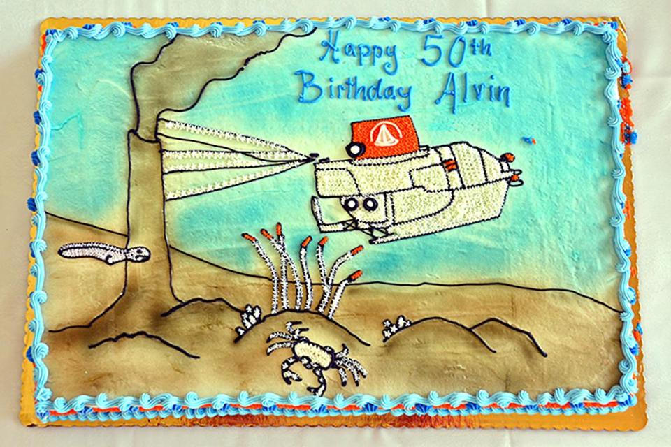 A cake celebrated the 50th birthday of Alvin, the manned submersible that has gone on nearly 4,900 dives.