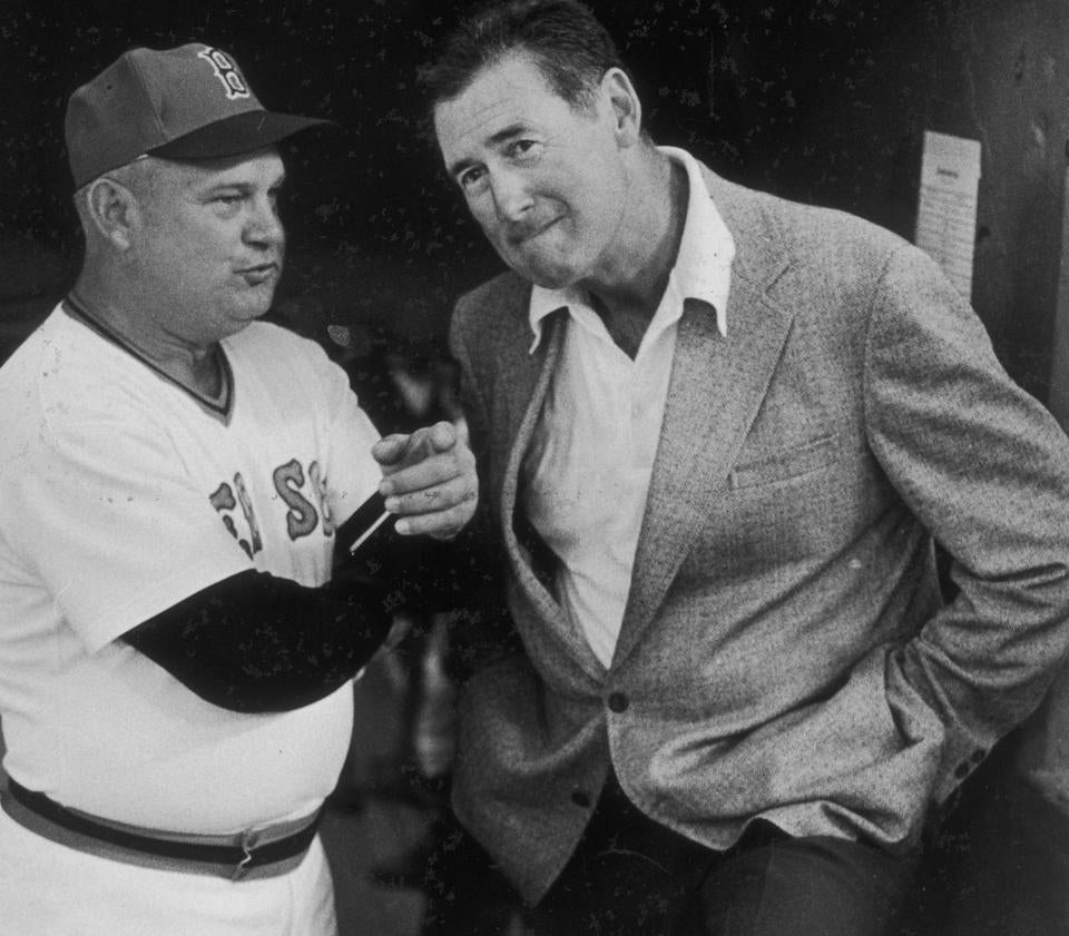Ted Williams (right) in 1976, with Don Zimmer.