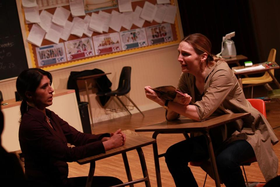 "Olivia D'Ambrosio (left) and Deb Martin play a teacher and a student's parent in Bridge Repertory's ""Gidion's Knot."""