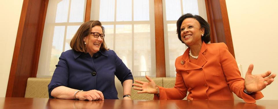 Boston Medical's Kate Walsh (left) and city health chief Dr. Paula Johnson.
