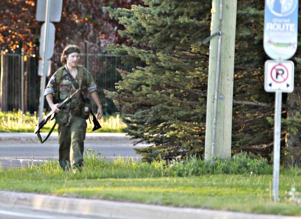 A heavily armed man that police identified as Justin Bourque walked on Hildegard Drive in Moncton, New Brunswick, on Wednesday after several shots were fired in the area. Police said Bourque was apprehended early Friday.