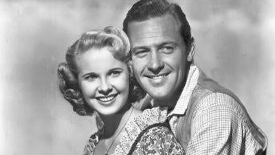 "Ms. Freeman posed with William Holden in a 1948 publicity photo for ""Streets of Laredo."""