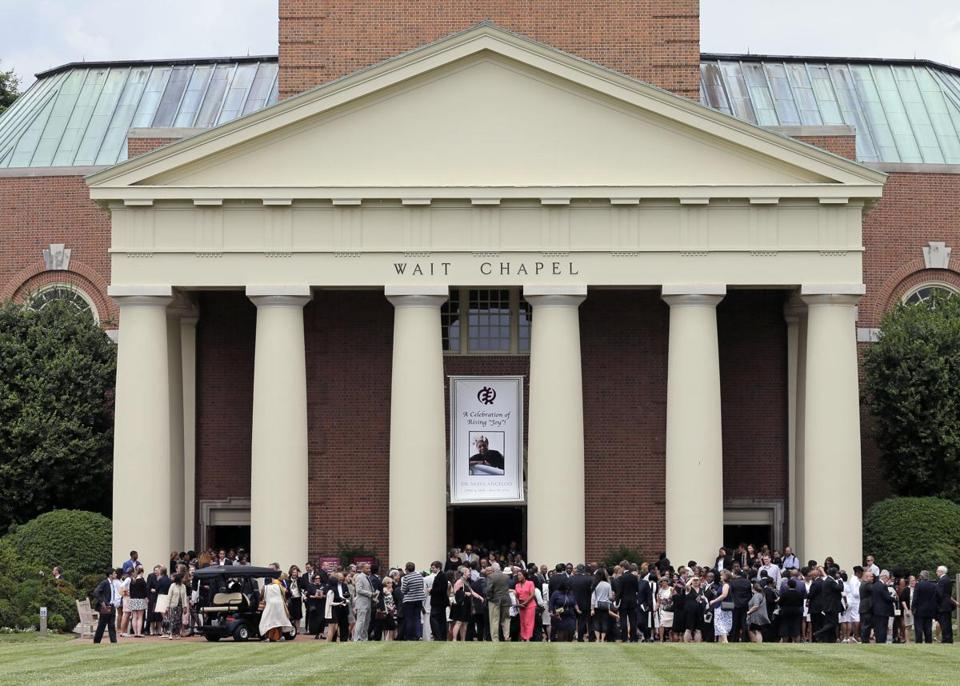 Mourners departed Wait Chapel after a memorial service for poet and author Maya Angelou at Wat Wake Forest University in Winston-Salem, N.C.