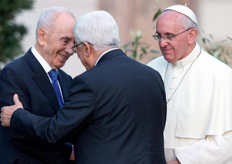 Israeli President Shimon Peres and Palestinian President Mahmoud Abbas joined Pope Francis at the Vatican.
