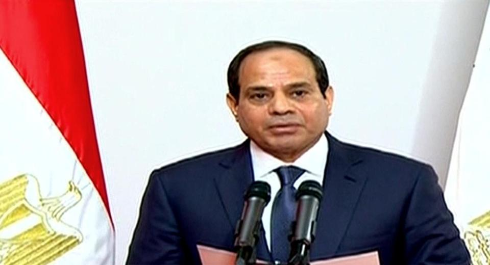 New Egyptian President Abdel-Fattah el-Sissi spoke Sunday at the Supreme Constitutional Court in Cairo.
