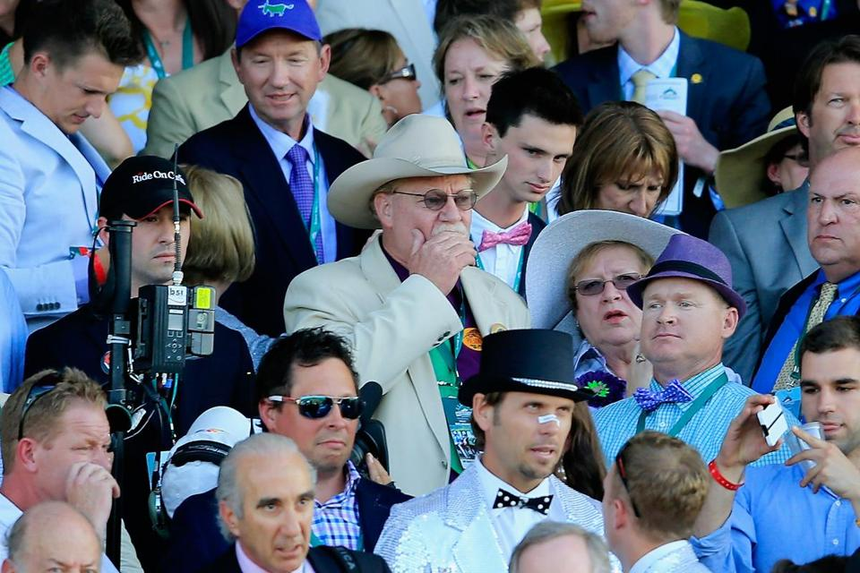 Steve Coburn (in white hat) believes only horses who run the Kentucky Derby should be eligible for the Triple Crown.