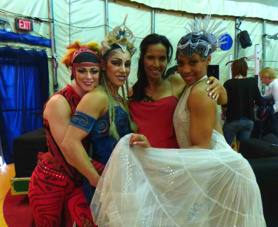 """Top Chef'' host Padma Lakshmi backstage with three Cirque du Soleil performers."
