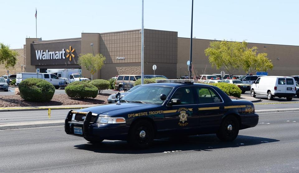 Two Las Vegas officers were shot and killed by two assailants at a pizza restaurant near a Wal-Mart. The two suspects then reportedly went into the Wal-Mart where they killed a third person before killing themselves.