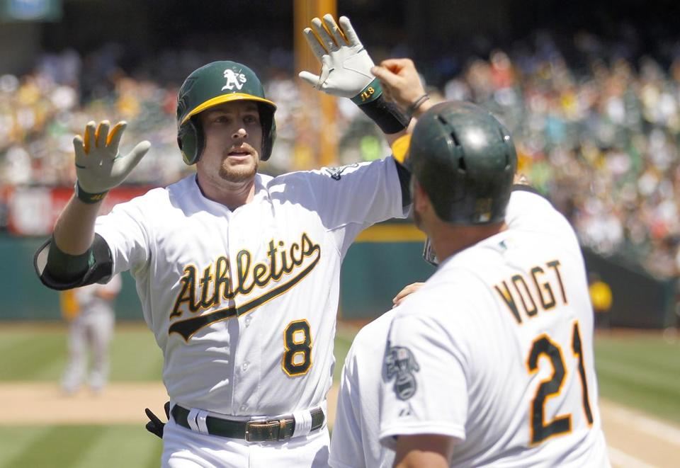 Jed Lowrie, drafted in the supplemental first round by the Red Sox in 2005, is batting .235 in 59 games this season for the A's.
