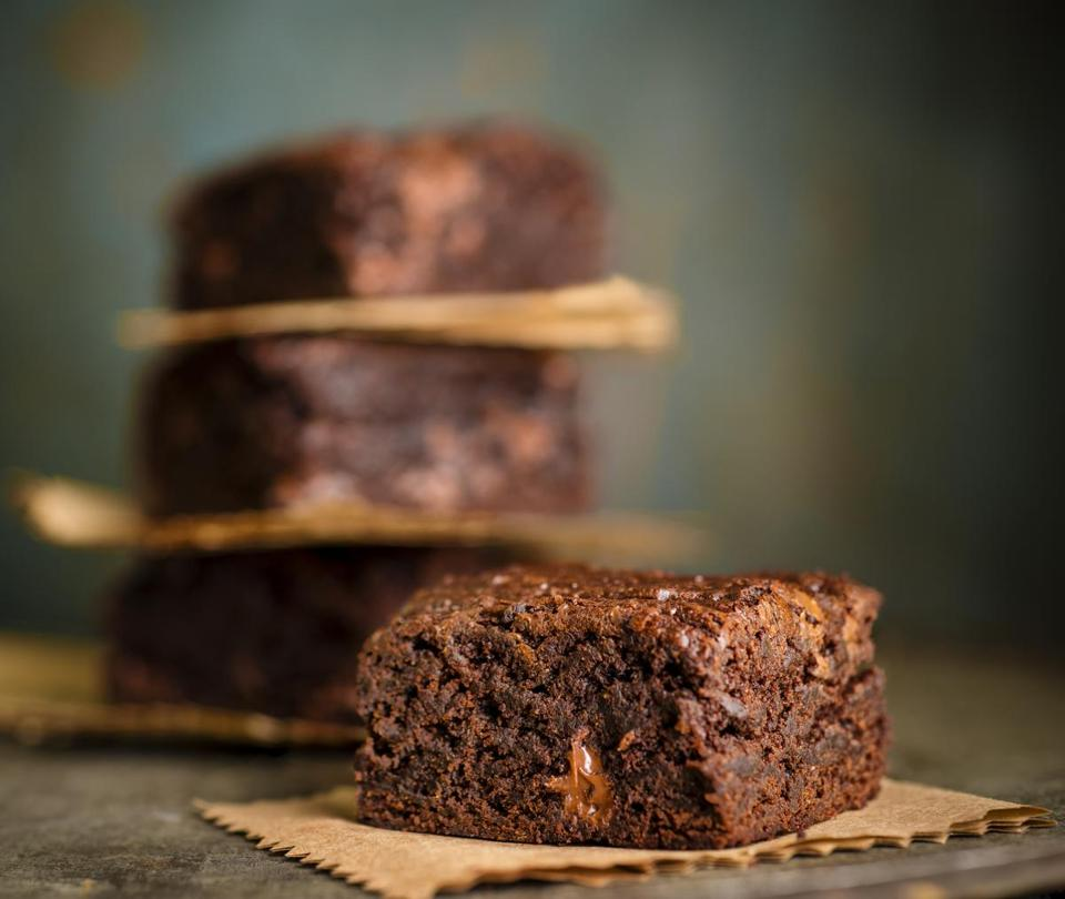Gluten-free fudgy double-chocolate brownies.