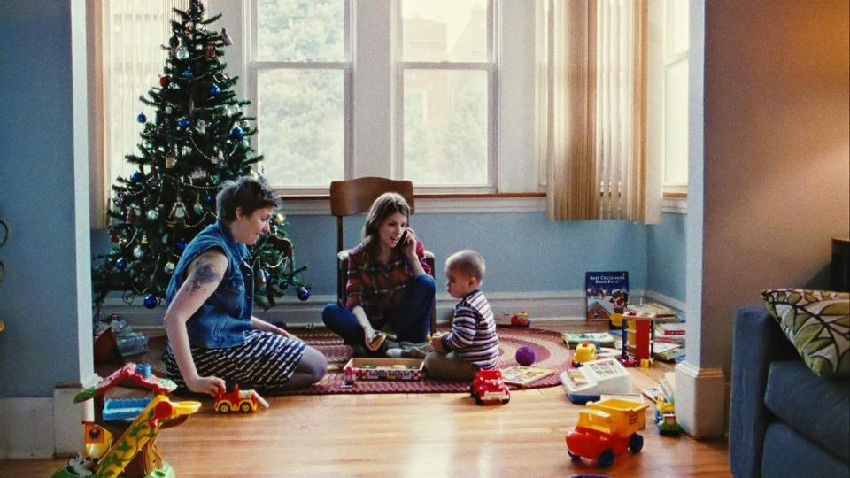 "This photo provided by courtesy of Magnolia Pictures shows, Lena Dunham, left, and Anna Kendrick, in a scene from the film, ""Happy Christmas,"" a Magnolia Pictures release. (AP Photo/Magnolia Pictures) 15ptownside"