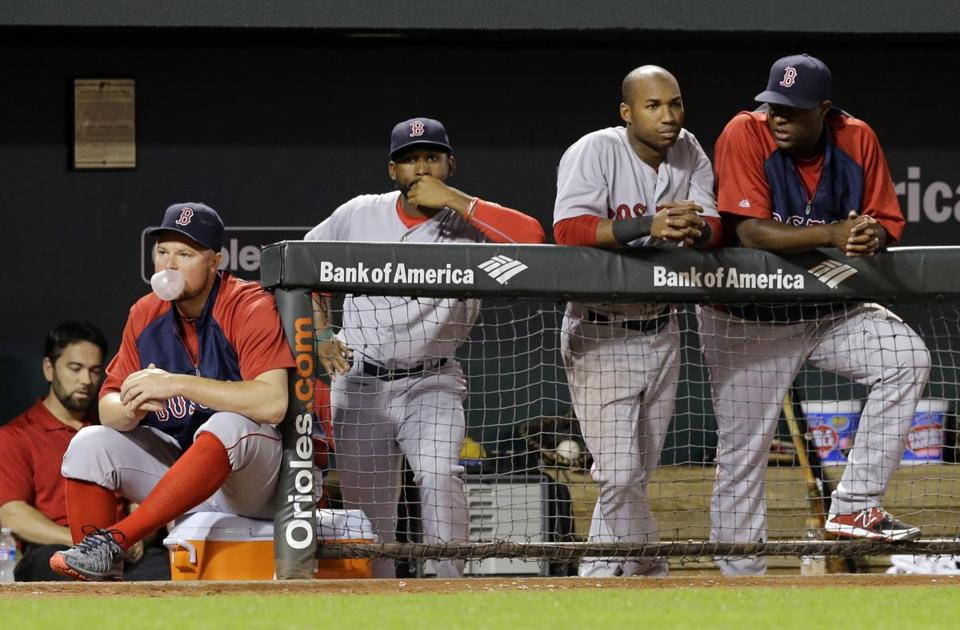 The Red Sox dugout was dour in the ninth inning of Monday's loss.