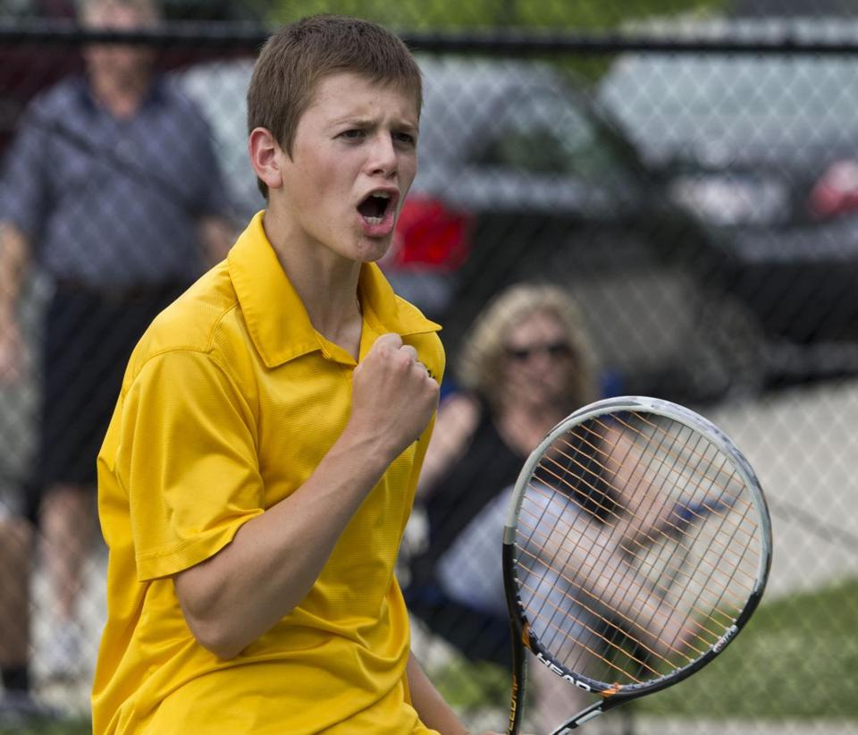 Lexington's Gideon Fiefke reacts after winning a game against BC High during a state semifinal.