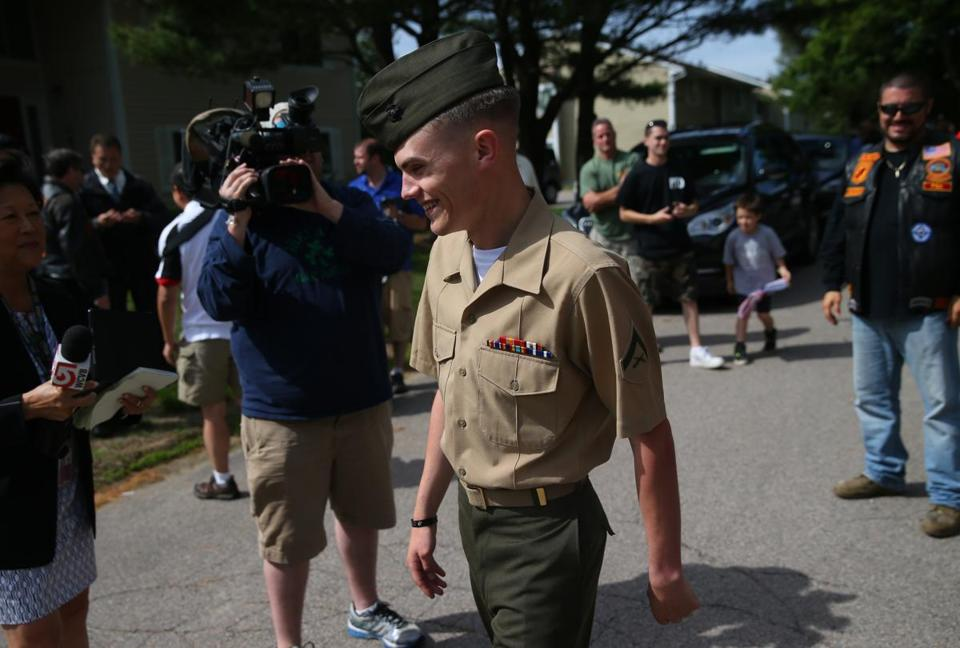 Marine Lance Corporal Michael leahy was welcomed home in Hingham from Afghanistan.