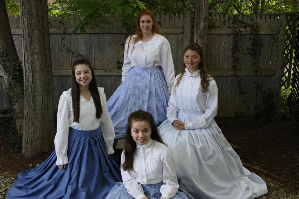 "Performing in ""Little Women: The Musical"" (clockwise from left):  Victoria Rotondo (Beth), Kate Duval (Jo), Saoirse Coyle (Amy), and Eloise Shields (Meg)."