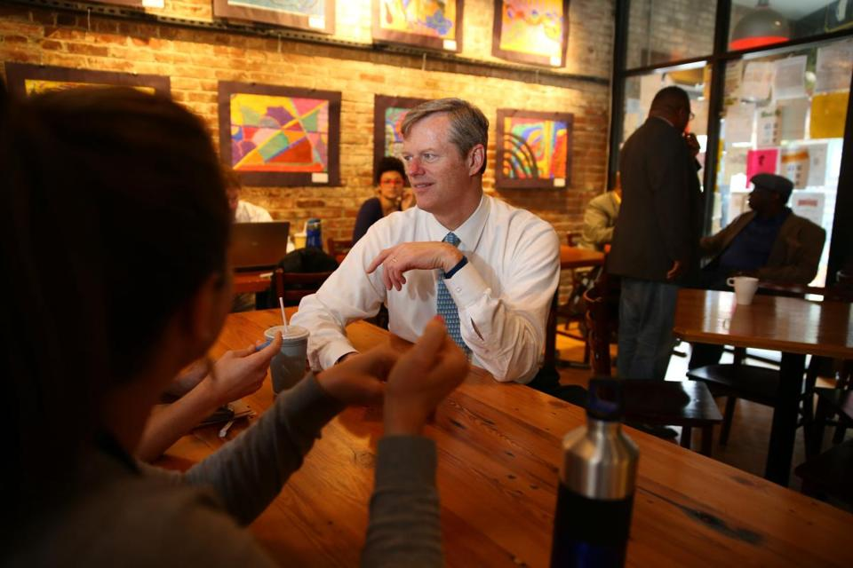 Republican candidate for governor Charlie Baker campaigned in Roxbury at the Haley House Bakery Cafe on Thursday.
