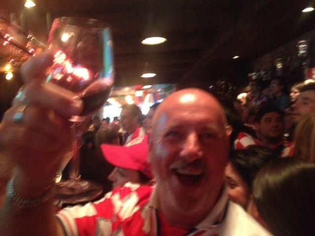 Boris Lovrin celebrated Croatia's short-lived lead over Brazil at Veslo, a Croatian bar and restaurant in Astoria, Queens.