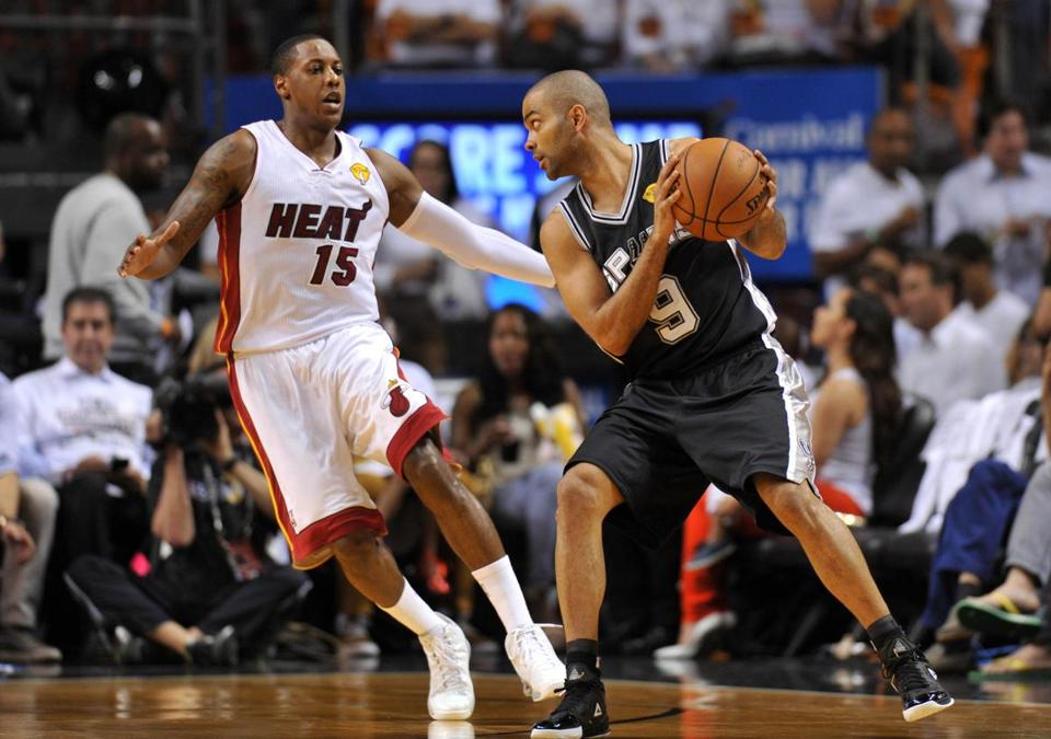 Miami guard Mario Chalmers has more fouls (12) than points (10) vs. the Spurs.