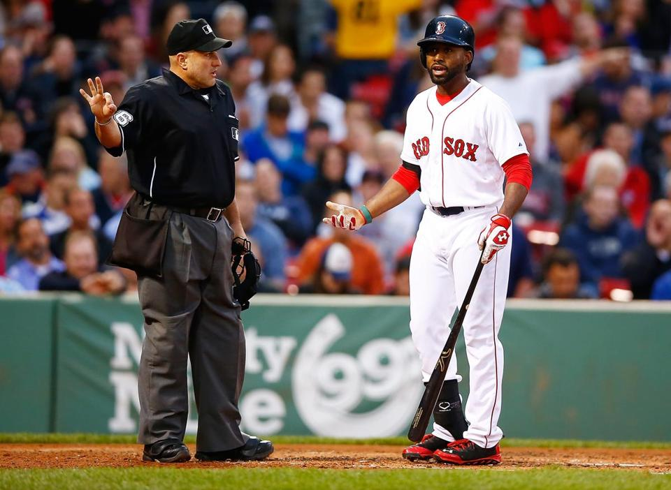 Jackie Bradley Jr. struck out twice on Thursday night, but also had a single and a four-pitch walk. (Photo by Jared Wickerham/Getty Images)
