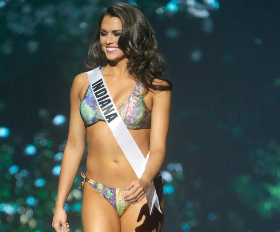 Miss Indiana USA Mekayla Diehl participates in the swimsuit competition during the 2014 Miss USA preliminary competition in Baton Rouge, La., Wednesday, June 4, 2014. (AP Photo/Gerald Herbert)