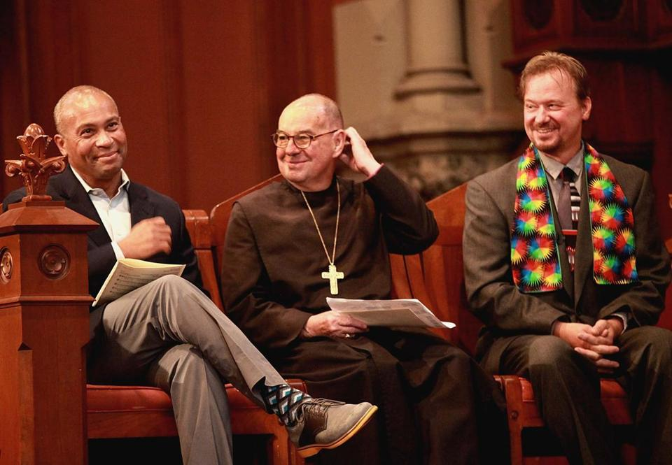Governor Deval Patrick ((left), Episcipal Bishop M. Thomas Shaw and Frank Schaefer, a former Methodist minister, were recipients of the Open Door Awards during Pride Morning Worship at Old South Church.