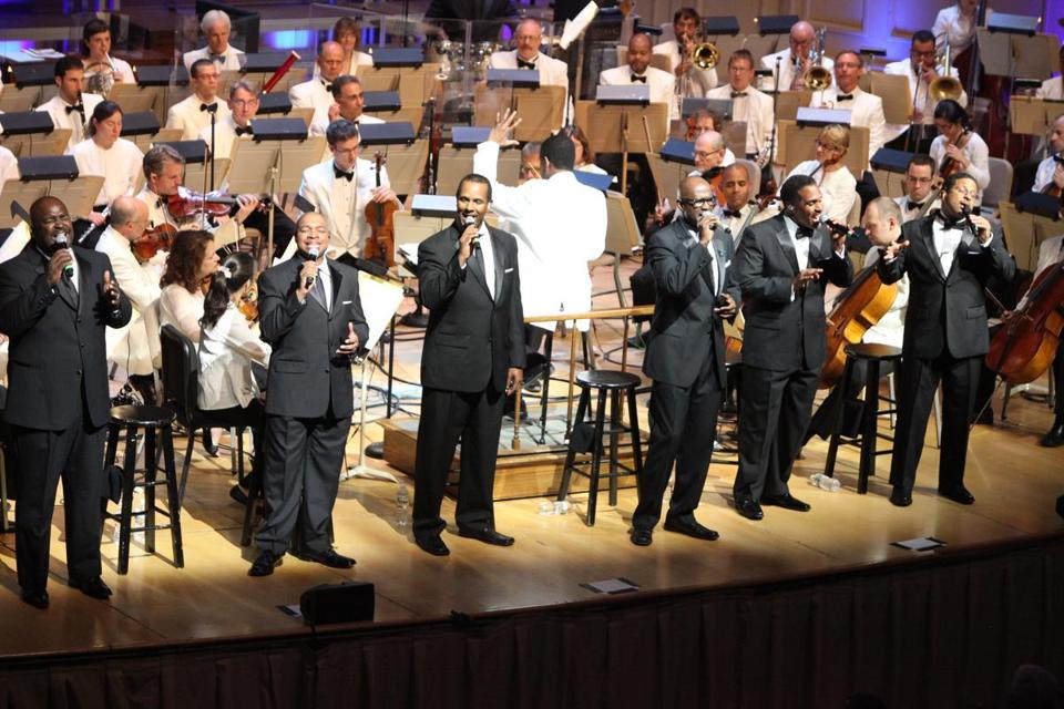 Take 6, the Grammy-winning  a cappella gospel music sextet, performed with the Boston Pops in its season finale Saturday night at Symphony Hall, led by guest conductor Charles Floyd.