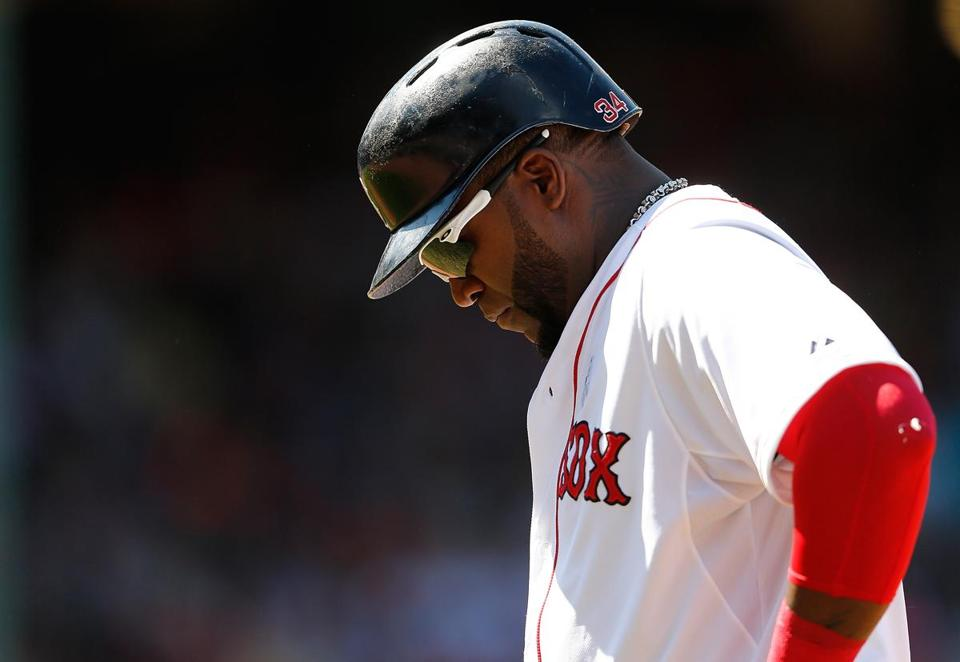 David Ortiz can't hide his disappointment after grounding out with a man on to end the fifth inning. (Photo by Jim Rogash/Getty Images)