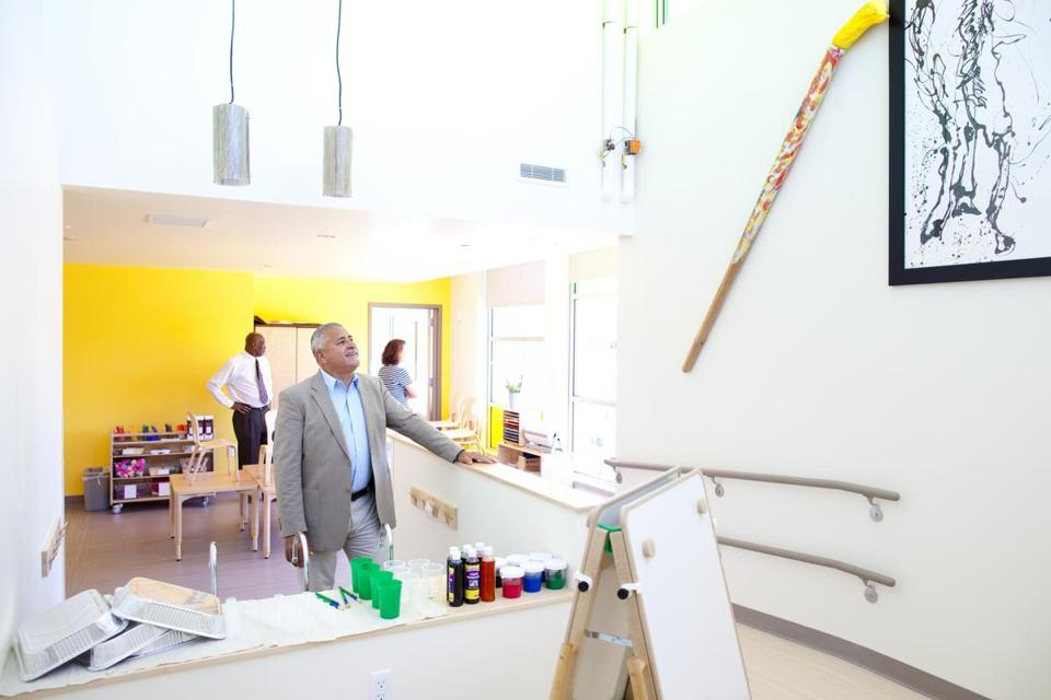 Wayne Ysaguirre, chief executive of Nurtury, stood in the center's art lab, in Jamaica Plain's Bromley-Heath housing development.