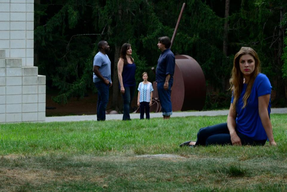 "A production still from Alix Pearlstein's ""The Park,"" in which she filmed five actors at deCordova Sculpture Park."