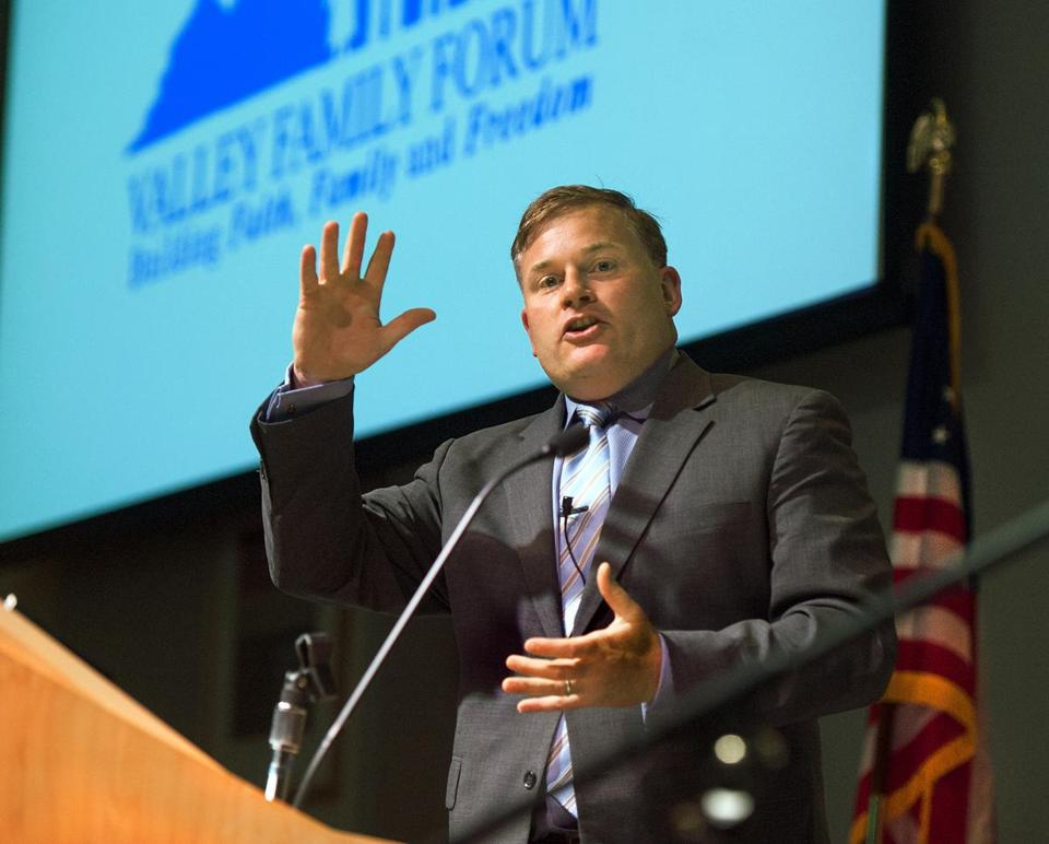 "Brian Brown, president of the National Organization for Marriage, delivers the keynote address at a ""Salute to the Family"" forum in Virginia in May."