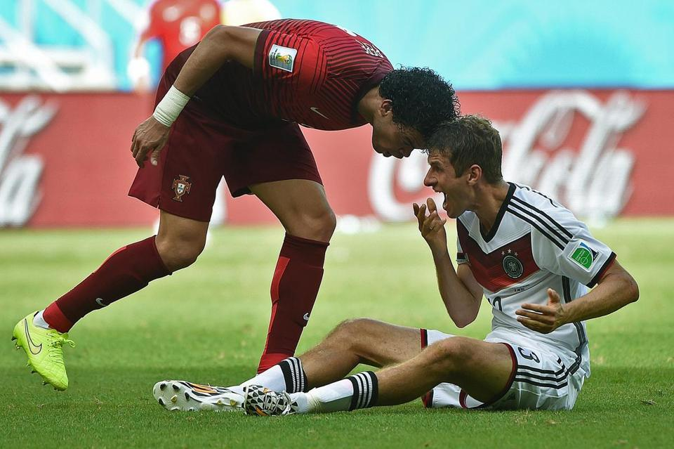 This head butt by Portugal defender Pepe will keep him out of Sunday's game vs. the US. PATRIK STOLLARZ/AFP/Getty Images