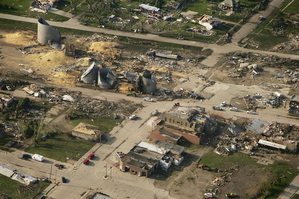 An aerial photo taken Tuesday showed the devastated town of Pilger.