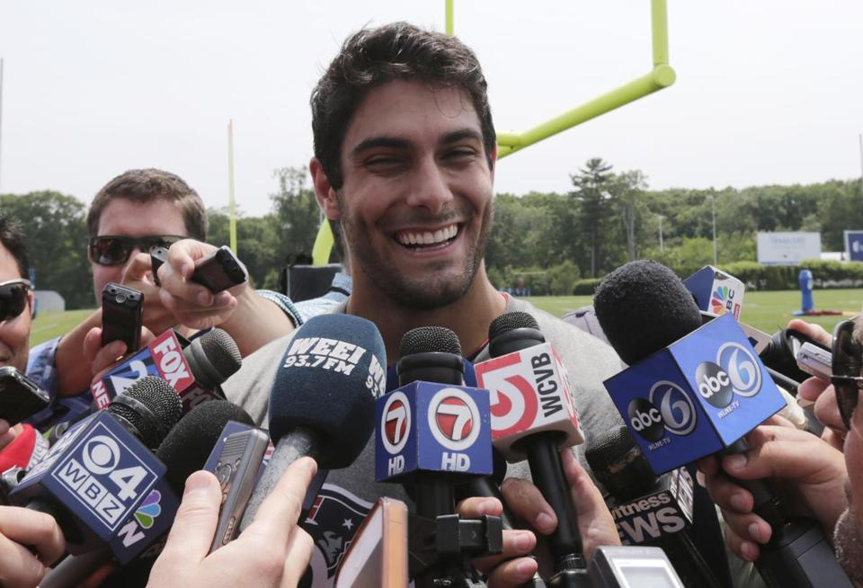 Jimmy Garoppolo has been a star student on and off the field since coming to the Patriots in the draft.