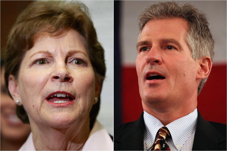 New Hampshire US Senator Jeanne Shaheen (left) and GOP challenger Scott Brown.