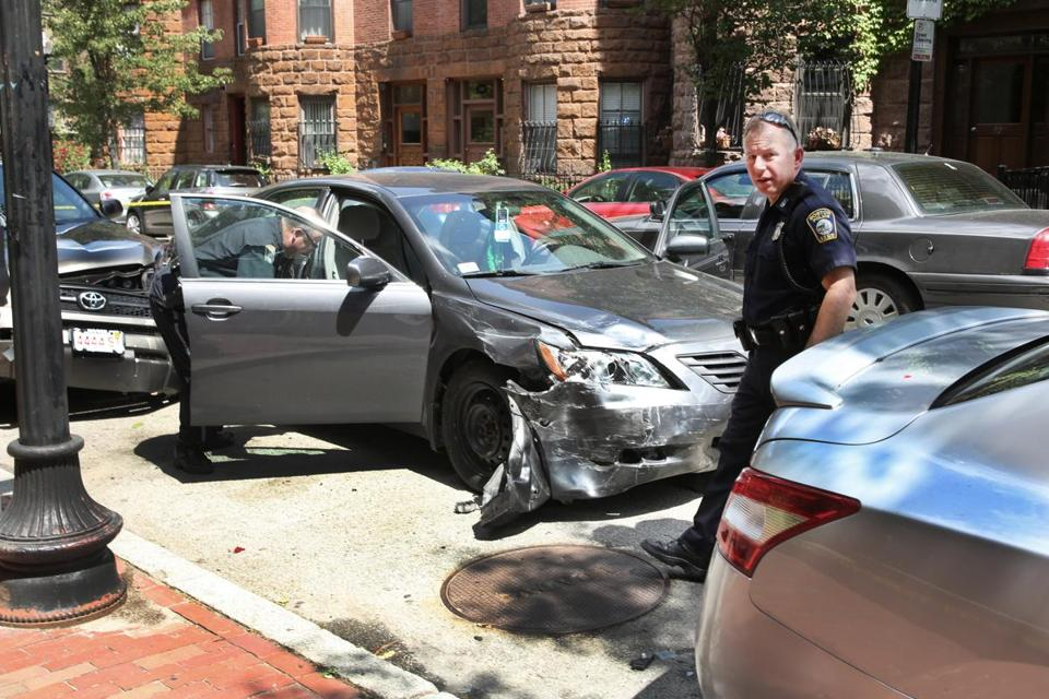 Police arrested a man after he crashed his car on St. Botolph Street.
