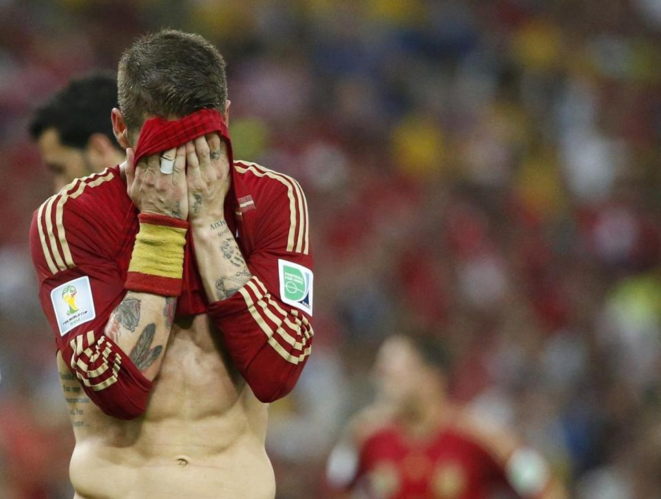 Spain's Sergio Ramos reacted during the loss to Chile.